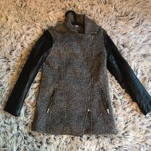 Faux leather and tweed coat